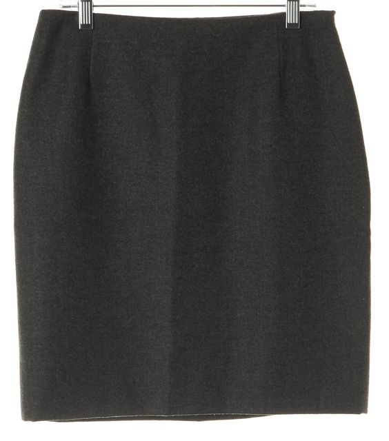 RALPH LAUREN COLLECTION Charcoal Gray Wool Cashmere Straight Skirt