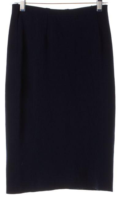 RALPH LAUREN COLLECTION Dark Navy Blue Wool Stretch Knit Pencil Skirt