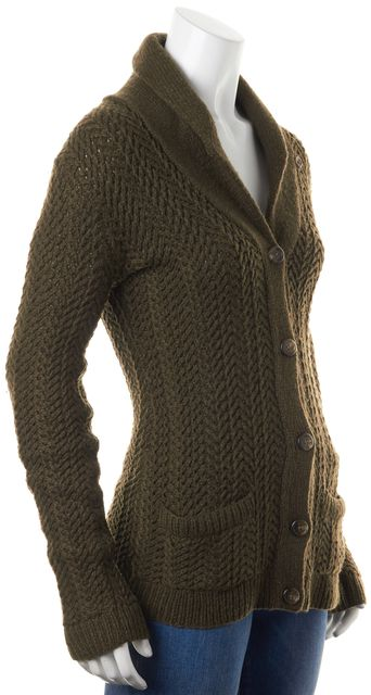 RALPH LAUREN COLLECTION Dark Olive Green Chunky Knit Cashmere Cardigan