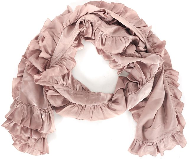 RALPH LAUREN COLLECTION Blush Pink Silk Satin Ruffle Trim Shawl Scarf
