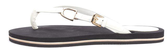 RALPH LAUREN COLLECTION White Patent Leather Flip Flops Sandals