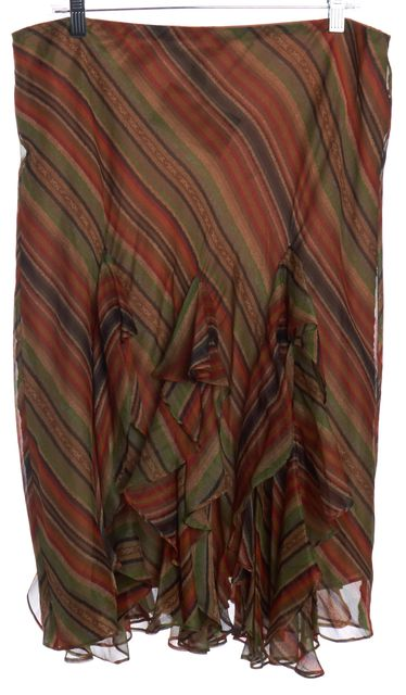 LAUREN BY RALPH LAUREN Multi-color Striped Ruffled Skirt