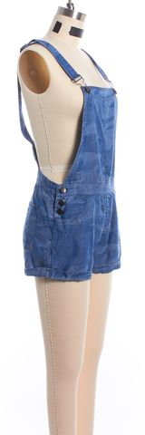 RAILS Blue Camouflage Denim Cropped Shorts Overall