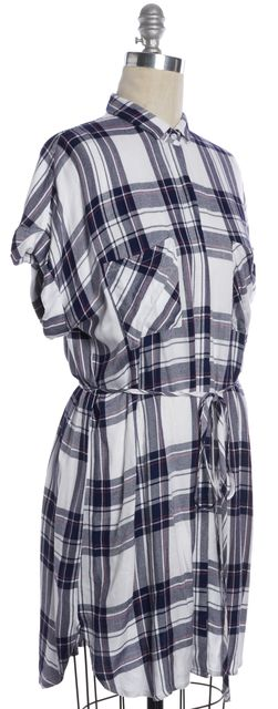 RAILS White Navy Orchid Plaid Tie Waist Short Sleeve Haley Shirt Dress