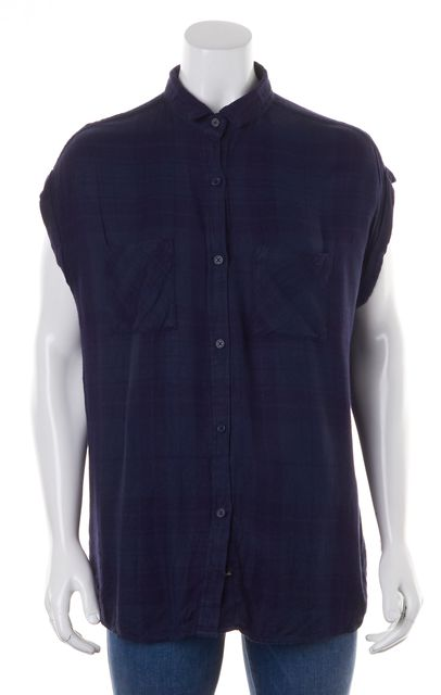 RAILS Navy Blue Plaid Cap Sleeve Button Down Shirt
