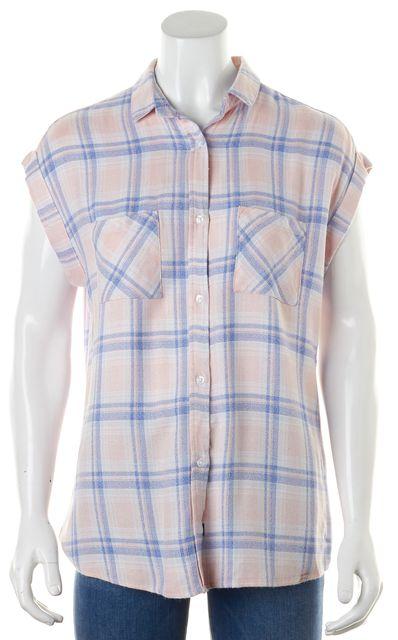 RAILS Pink Blue Plaid Cap Sleeve Button Down Shirt