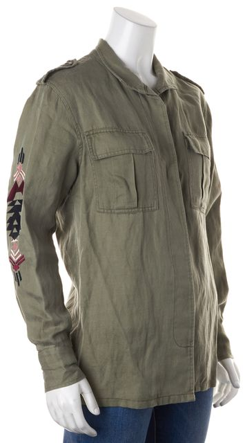 RAILS Green Multi-Color Western Embroidered Button Down Army Jacket