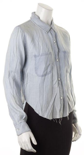 RAILS Blue Chambray Frayed Hem Long Sleeve Button Down Shirt