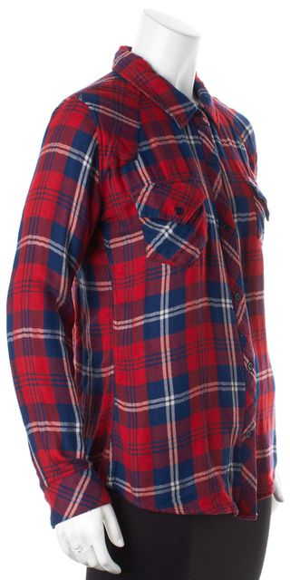 RAILS Red Navy Blue White Plaid Button Down Shirt