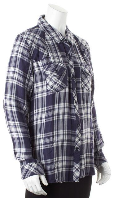 RAILS Blue White Plaid Long Sleeve Button Down Shirt