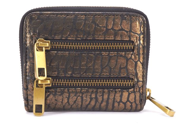 REBECCA MINKOFF NEW Bronze Textured Leather Multi Zip Bi-Fold Wallet
