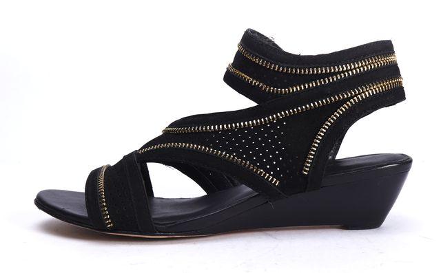 REBECCA MINKOFF Black Leather Mesh Zipper Detail Open Toe Sandals