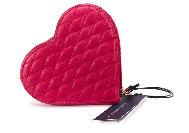 REBECCA MINKOFF Pink Quilted Leather Heart Pouch Wallet