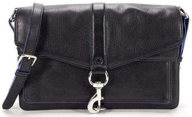 REBECCA MINKOFF Black Leather Blue Piping Envelope Crossbody Bag