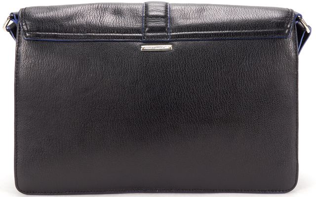 REBECCA MINKOFF Black Leather Blue Piping Envelope Crossbody Bag