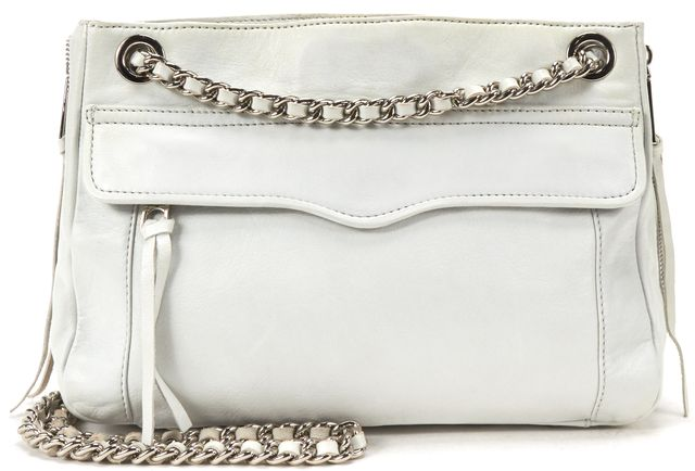 REBECCA MINKOFF White Leather Silver Chain Shoulder Bag
