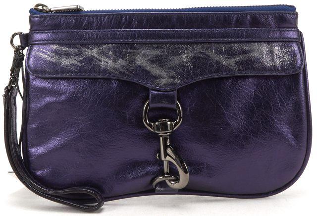 REBECCA MINKOFF Dark Purple Metallic Leather Mini MAC Clutch Bag