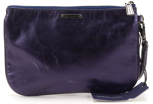 REBECCA MINKOFF Dark Purple Metallic Leather Mini MAC Clutch Bag