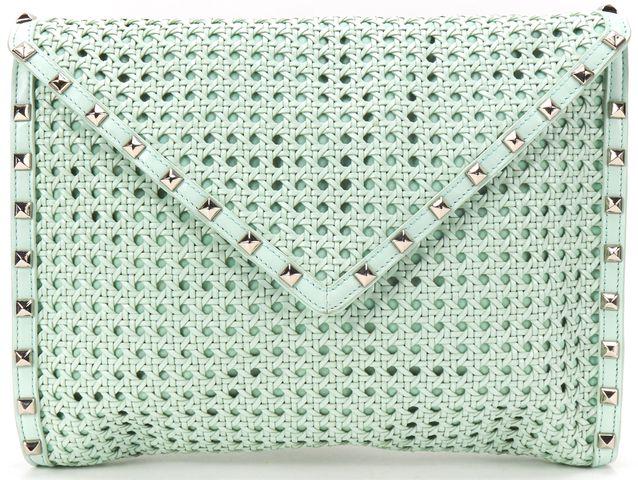 REBECCA MINKOFF Mint Green Woven Leather Silver Stud Envelope Style Owen Clutch