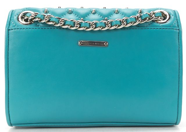 REBECCA MINKOFF Turquoise Leather Studded Mini Affair Chain Shoulder Bag