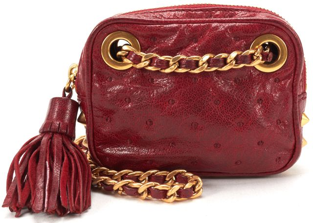 REBECCA MINKOFF Red Leather Gold Stud Mini Chain Strap Crossbody Bag