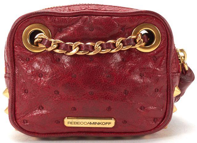 REBECCA MINKOFF Auth Red Leather Gold Stud Mini Chain Strap Crossbody Bag