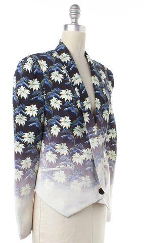 REBECCA MINKOFF Blue Ombre Floral Silk Blazer