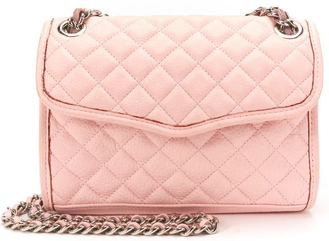 REBECCA MINKOFF Pink Quilted Leather Chain Strap Crossbody Bag