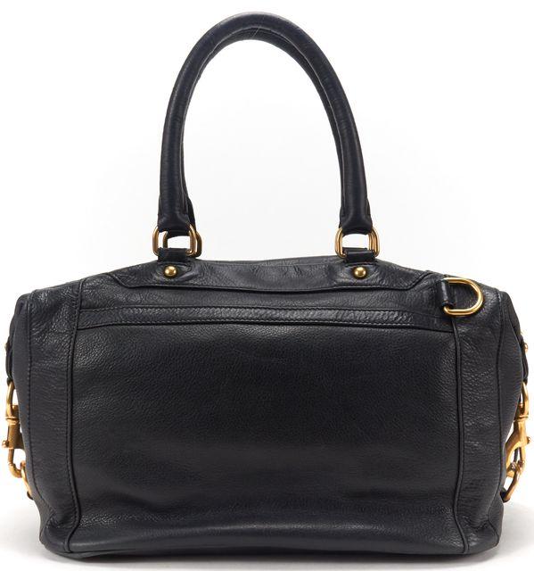 REBECCA MINKOFF Black Leather Gold Hardware Satchel Bag