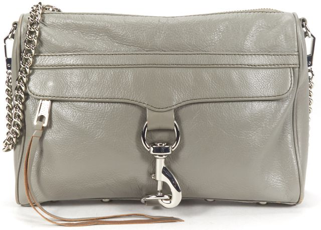REBECCA MINKOFF Gray Leather Silver Chain Mac Crossbody Bag