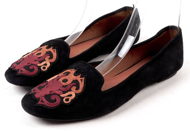 REBECCA MINKOFF Black Multi Color Embriodered Suede Moccasin Flats