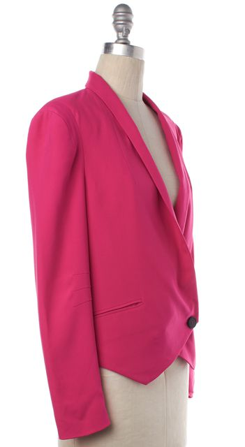 REBECCA MINKOFF Hot Pink Silk Single Button Jacket