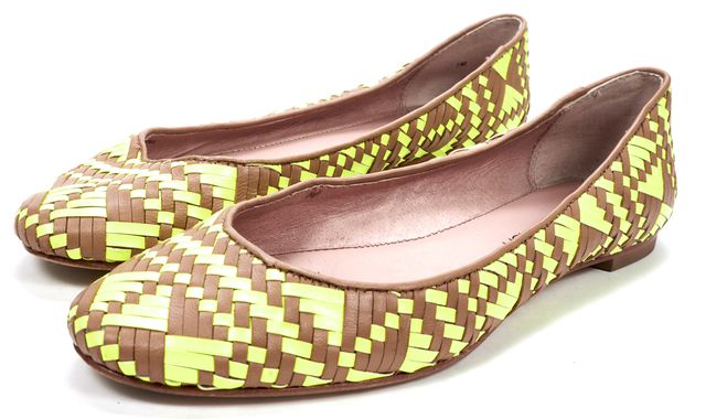 REBECCA MINKOFF Neon Tan Woven Leather Ballet Flats