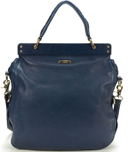 REBECCA MINKOFF Navy Blue Leather Crossbody Top Handle Satchel Bag