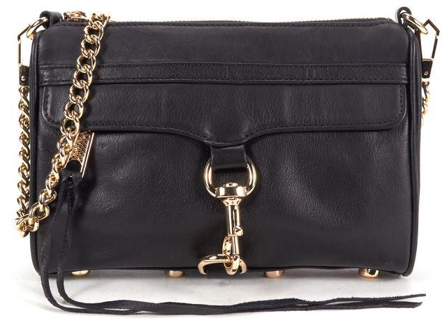 REBECCA MINKOFF Black Leather Mini Mac Crossbody Bag