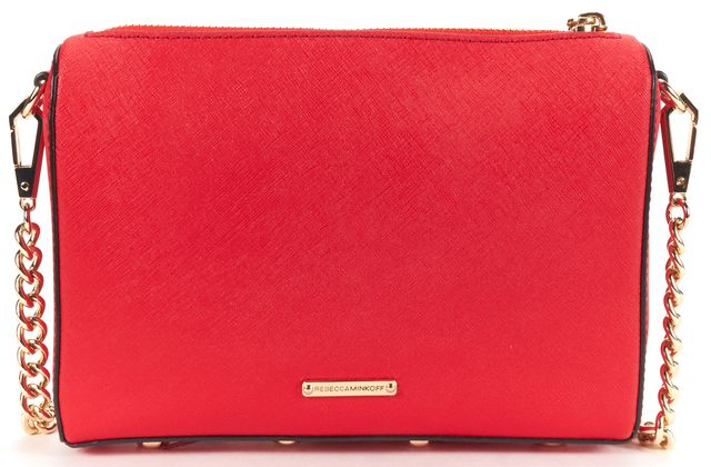 REBECCA MINKOFF Authentic Red Leather Gold Chain Crossbody Bag