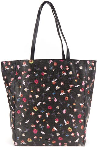 REBECCA MINKOFF Black Coated Canvas Floral Print Tote Bag
