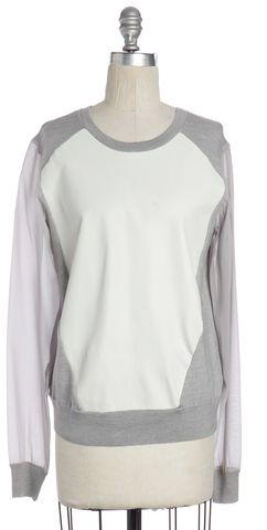 REBECCA MINKOFF Gray Ivory Colorblock Leather Panel Wool Sweatshirt