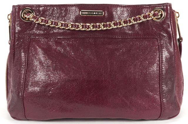 REBECCA MINKOFF Burgundy Red Gold Textured Leather MAB Chain Shoulder Bag
