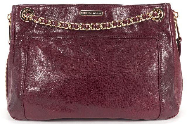 REBECCA MINKOFF Burgundy Red Gold Textured Leather MAB Chain Shoulder Bag