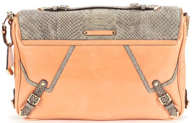 REBECCA MINKOFF Authentic Orange Gray Snakeskin Embossed Flap Chain Shoulder Bag
