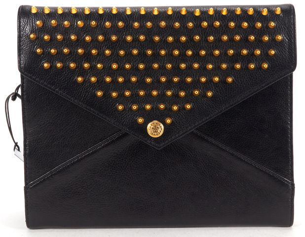 REBECCA MINKOFF Black Gold Leather Spike Embellished Ipad Case