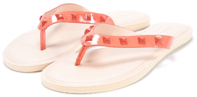 REBECCA MINKOFF Coral Patent Leather Studded Fiona Thong Sandals