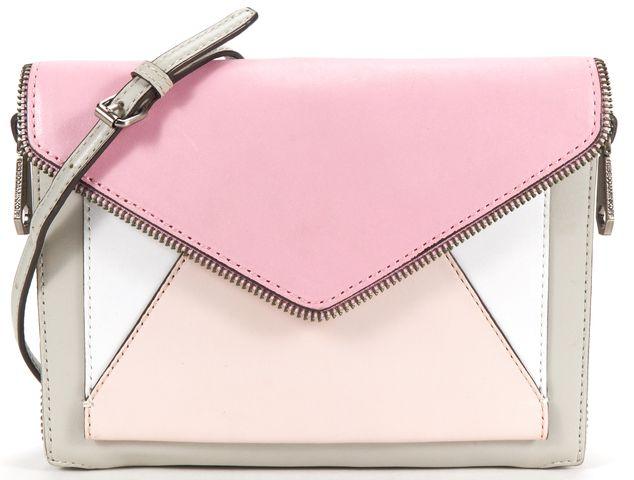 REBECCA MINKOFF Pink Gray Leather Envelope Crossbody Bag