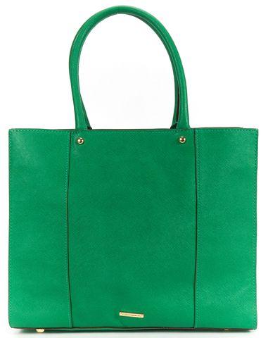 REBECCA MINKOFF Green Leather Contrast Stitch Structured Tote Shoulder Bag