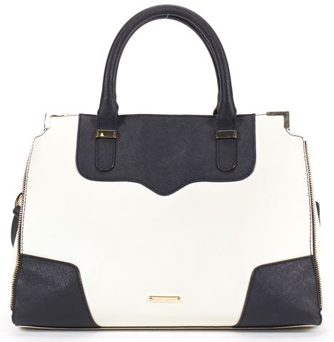 REBECCA MINKOFF Black Ivory Saffiano Leather Amorous Satchel Crossbody Bag