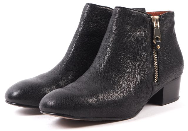 REBECCA MINKOFF Black Pebbled Leather Ankle Boots