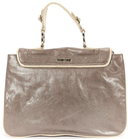 REBECCA MINKOFF Taupe Iridescent Leather Ivory Leather Trim Top Handle Bag