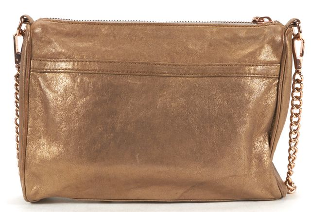 REBECCA MINKOFF Gold Leather MAC Shoulder Crossbody Bag