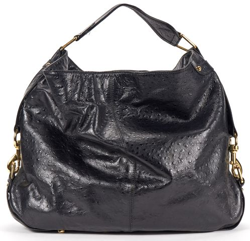 REBECCA MINKOFF Black Ostrich Embossed Large Leather Hobo